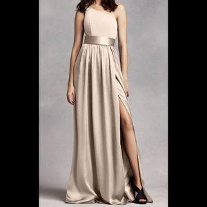 Vera Wang one shoulder bridesmaid dress in champag